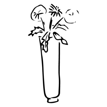 Vase with spring flowers icon. Vector illustration of flowerss in a vase. Hand drawn spring flowers in a pot.