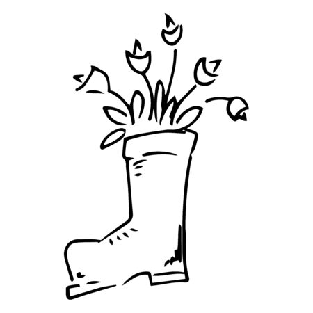Rubber boot with tulips and daffodils icon. Vector illustration of spring flowers in a rubber boot. Hand drawn daffodil and tulips in a garden boot.