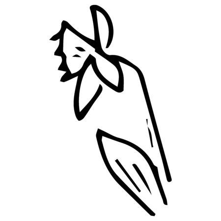 Flower icon. Vector illustration of spring daffodil. Hand drawn spring flower.