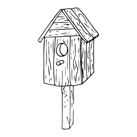 Birdhouse icon. Vector illustration of birdhouse. Hand drawn birdhouse.