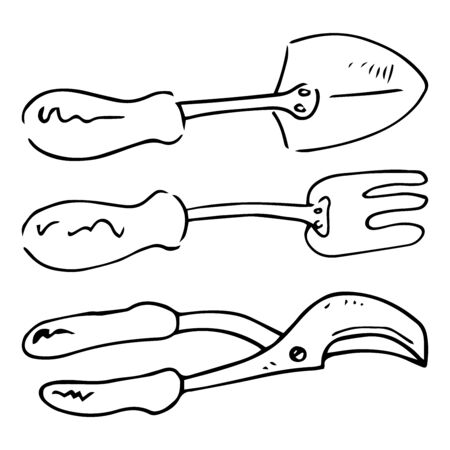 Set of gardening tools icon. Vector illustration of a shovel, pitchfork, pruner. Hand drawn secateurs for bushes, shovel, pitchfork.