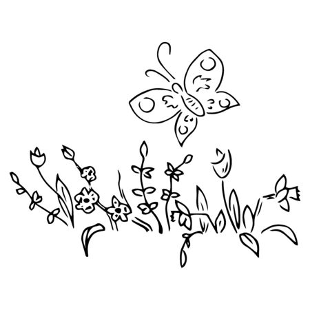 Butterfly over spring flowers doodle. Vector illustration of spring flowers with butterfly. Hand drawn.