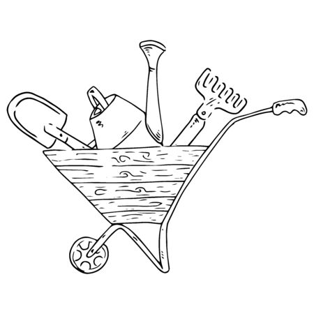 Wheelbarrow for the garden icon. Vector illustration of a garden wheelbarrow for plants. Hand drawn wheelbarrow for the garden.