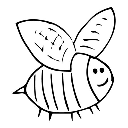 Bee doodle. Vector illustration of a cartoon bee. Hand drawn funny, fat bee.