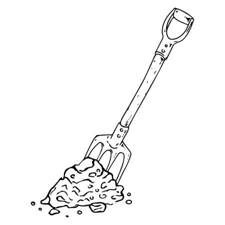 Shovel icon. Vector illustration of a shovel for the garden. Hand drawn shovel. Иллюстрация