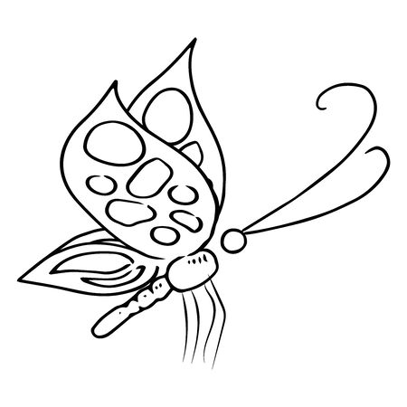 Butterfly icon. Vector illustration of a spring butterfly. Hand drawn butterfly.