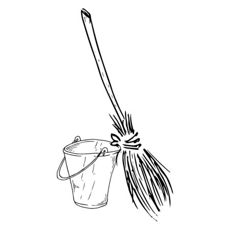 Bucket and broom icon. Vector illustration of a broom with a bucket for cleaning. Иллюстрация