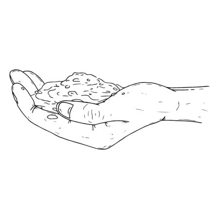 Human palms hold the soil icon. Vector illustration of a hand holding a handful of earth. Mans hands hold a handful of earth. Ilustração