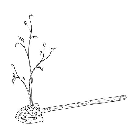 Young seedling icon. Vector illustration of a young sapling for planting. Hand drawn young bush for spring planting. Иллюстрация
