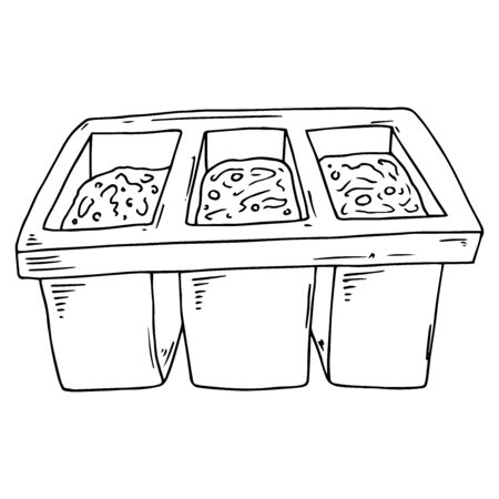 Pots for spring seedlings icon. Vector illustration of seed pots.
