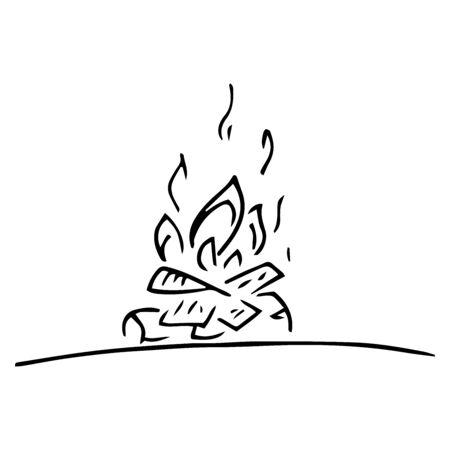 Bonfire icon. Vector illustration of a fire bonfire. Hand drawn bonfire. Иллюстрация