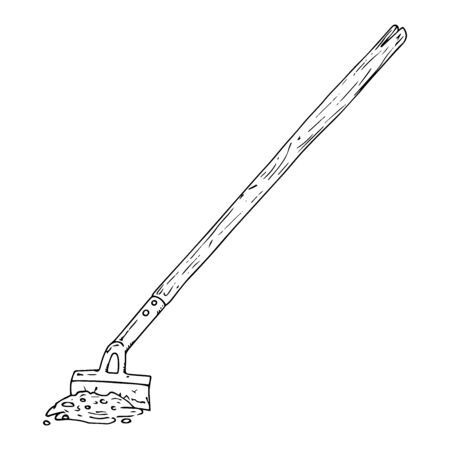 Hoe icon. Vector illustration of a garden hoe. Hand drawn garden hoe. Иллюстрация