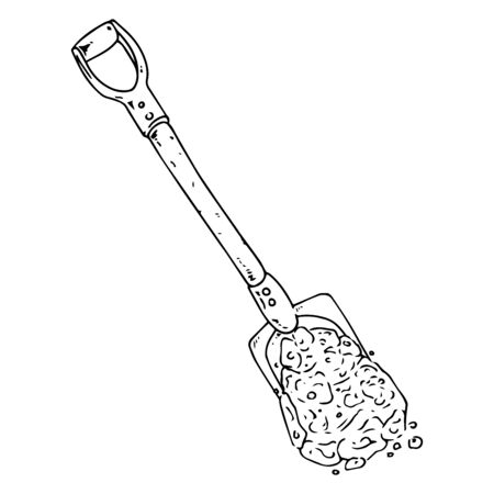 Shovel with soil icon. Vector illustration of a shovel for the garden. Hand drawn shovel to the ground for planting.