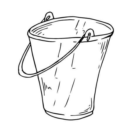 Bucket icon. Vector illustration of a garden bucket with water. Hand drawn  garden bucket.
