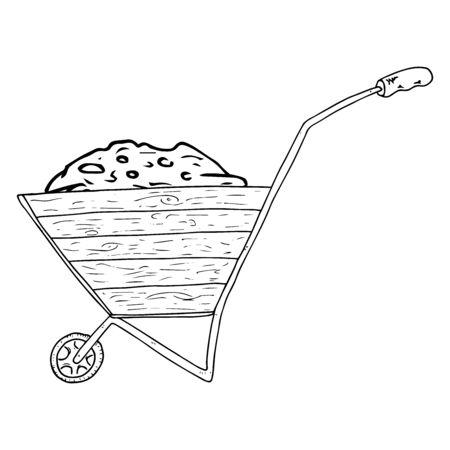 Wheelbarrow for the garden icon. Vector illustration of a garden wheelbarrow for plants. Hand drawn wheelbarrow for the garden.