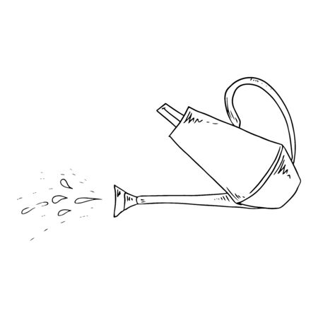 Garden watering can. Vector illustration of a watering can. Hand drawn garden watering can.