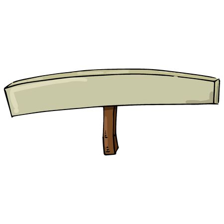 Empty banner. Transparency without text. Banner on a wooden hilt. Vector illustration. Simple hand drawn icon.