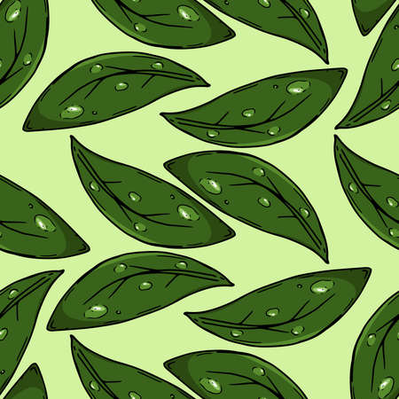 Leaves with water drops seamless pattern. Vector illustration of a seamless pattern of green leaves with drops.