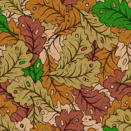 Oak leaves seamless pattern. Autumn oak leaves. Vector illustration of autumn leaves seamless pattern. Hand drawn leaves of oak.