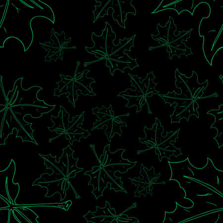 Maple leaf seamless pattern. Vector of a seamless maple leaf pattern. Hand drawn maple leaf. Illustration
