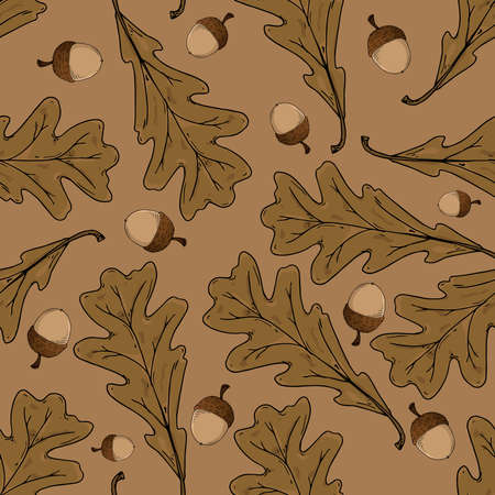 Acorns seamless pattern. Vector illustration of oak acorns. Background of oak acorns. Illustration
