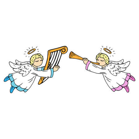 Angel with harp. Angel with flute.  Vector illustration. Two angels opposite each other with musical instruments.