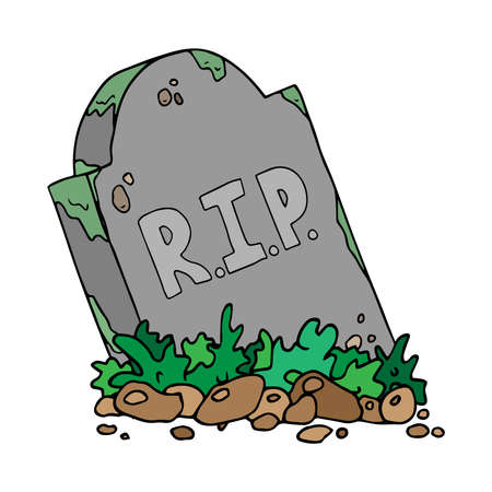 Gravestone with a hill of earth. Inscription RIP on the tombstone. Vector illustration.