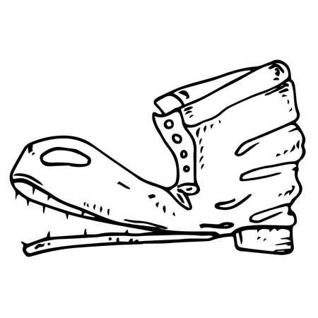 Old boot. Torn shoe. Vector illustration.