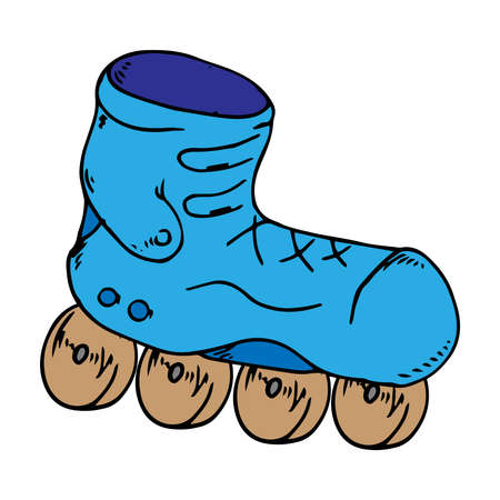 Classic roller skates. Laced roller skates. Vector illustration of children's roller skates. Roller skates hand drawn. Ilustracje wektorowe