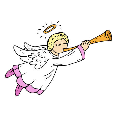 Angel with harp. Angel with flute.  Vector illustration. Hand drawn angels cupids for Christmas.