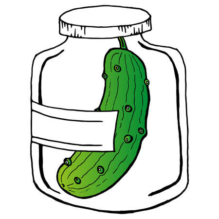 Cucumbers in a glass jar. Vector illustration of pickled cucumbers in a jar. Pickles in a glass bottle.  イラスト・ベクター素材