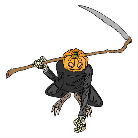 Pumpkin monster with wings for Halloween. Vector illustration pumpkin monster and skulls. Hand drawn scary pumpkin with scythe and wings. Иллюстрация
