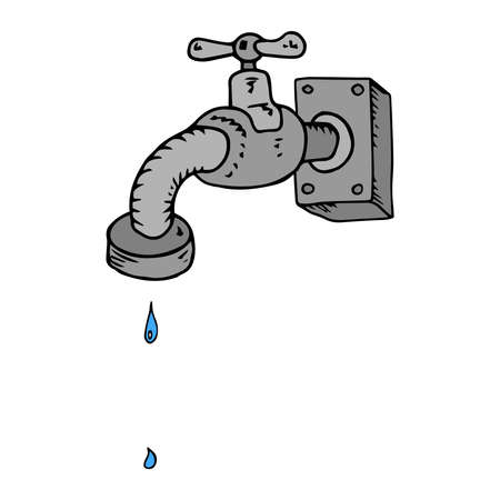 Water tap. Water tap with water. Vector illustration of a water faucet for the garden.