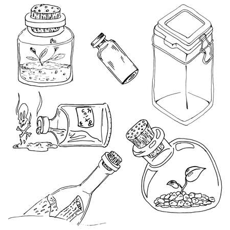 Set of glass jars. Vector illustration of a set of different cans. Hand drawn glass jars, vial, container. 向量圖像