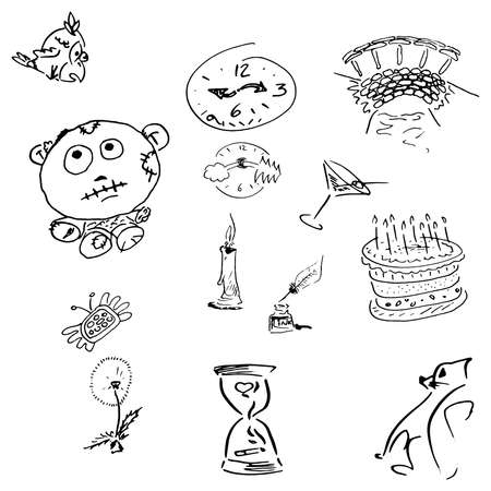 Holiday doodle. Birthday element doodles hand drawn.