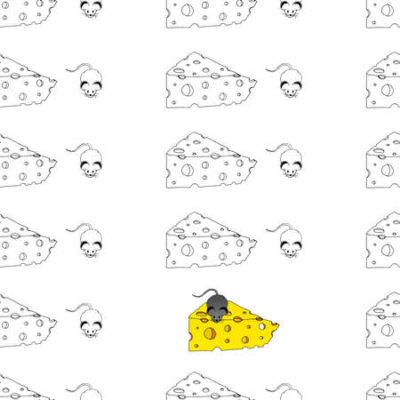 Seamless pattern with a cartoon mouse with a piece of cheese.