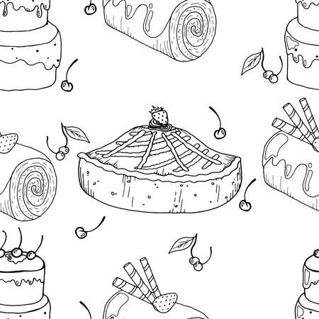 Seamless pattern from strawberry cake and chocolate roll. Vector illustration of seamless background of cakes. Vettoriali