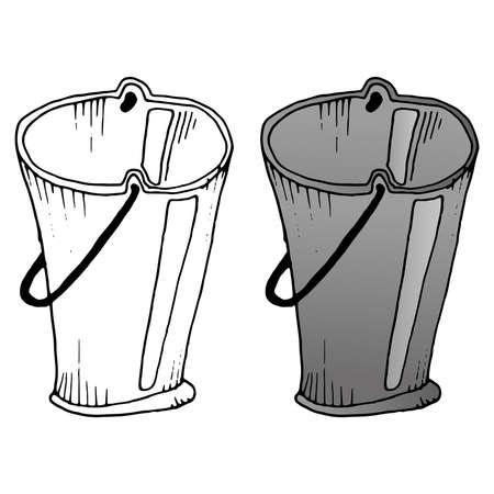 Bucket. Vector illustration of a metal bucket. Hand drawn plastic bucket for garbage.