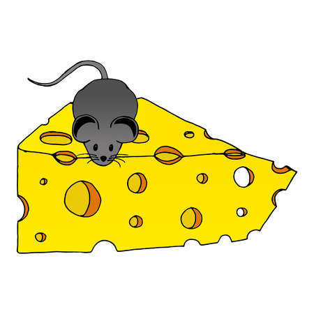 Mouse with a slice of cheese hand drawn. Vector of a cartoon mouse on cheese. Icon mouse with cheese. Vettoriali