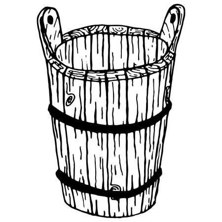 Wooden bucket on white background. Vector illustration of a bucket. Hand drawn wooden bucket.