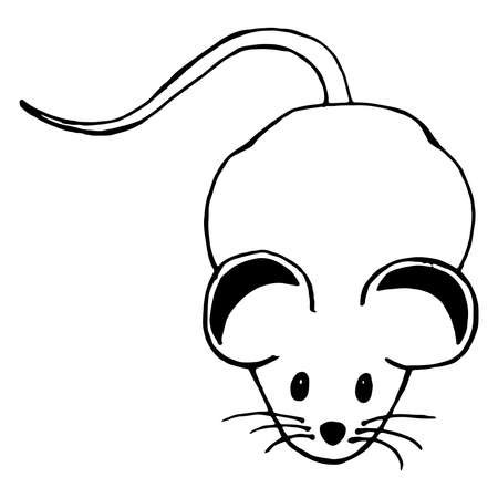 Mouse hand drawn. Vector illustration of cartoon mouse. Funny rat. Vettoriali