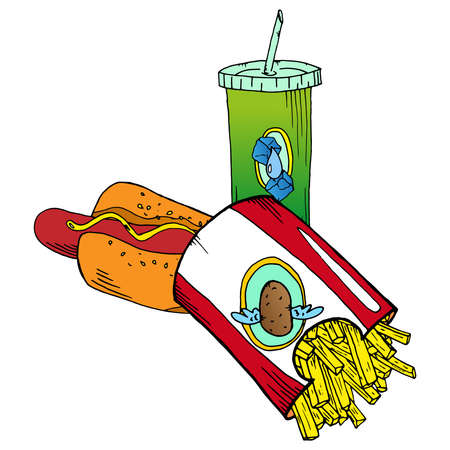 Fast food. Hand drawn french fries, hot dog. Unhealthy food. Vector illustration of a set of fast food.