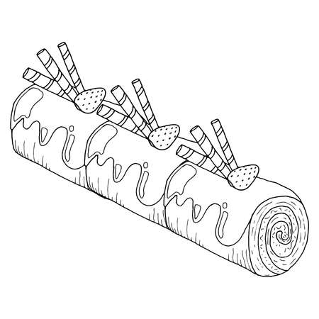 Strawberry pie roll. Vector illustration of a roll with strawberries. Hand drawn fruit roll pie. Slice of cake roulade with chocolate and strawberries.