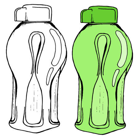 Bottle for water. Vector illustration of a plastic bottle. Hand drawn sports bottle for water.