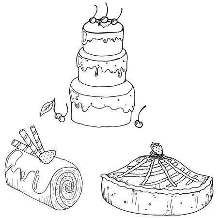Set cake icon. Vector illustration of strawberry cake, chocolate roll, berry cake.