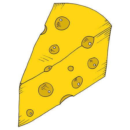 Cheese with holes icon. Vector illustration of cheese with big holes. Hand drawn cartoon piece of cheese. Vettoriali