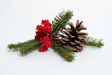 Christmas composition. Christmas card, pine branches, toys. Flat lay, top view. Archivio Fotografico