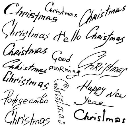Set Christmas text. Christmas lettering theme. Vector illustration of handwriting, calligraphy, the word Christmas in English.