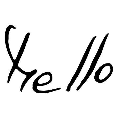 Hello text lettering. Calligraphy word hello. Iinscription handwriting hello. Vector illustration of the word hello in English.