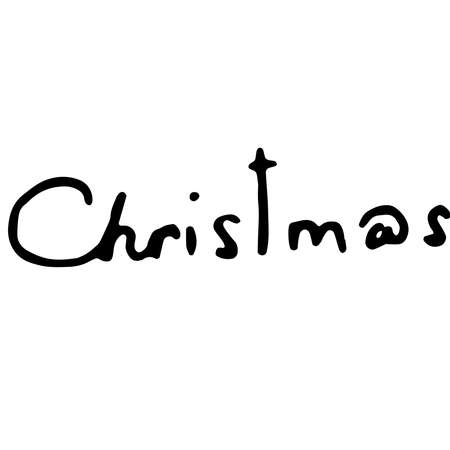 Christmas text. Christmas lettering theme. Vector illustration of handwriting, calligraphy, the word Christmas in English. 向量圖像